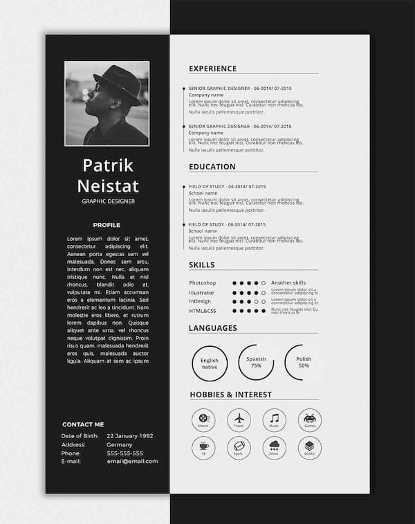 one page cv templates