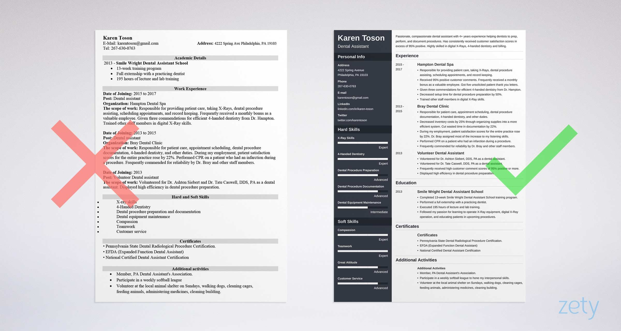 Bad Vs Good One Page Resume Examples