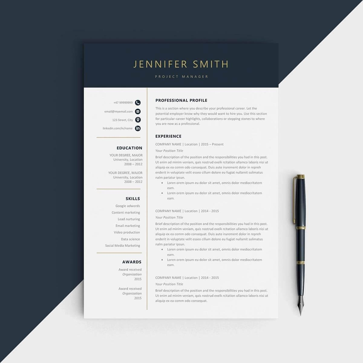 Elegant One Page Resume Template Word Example
