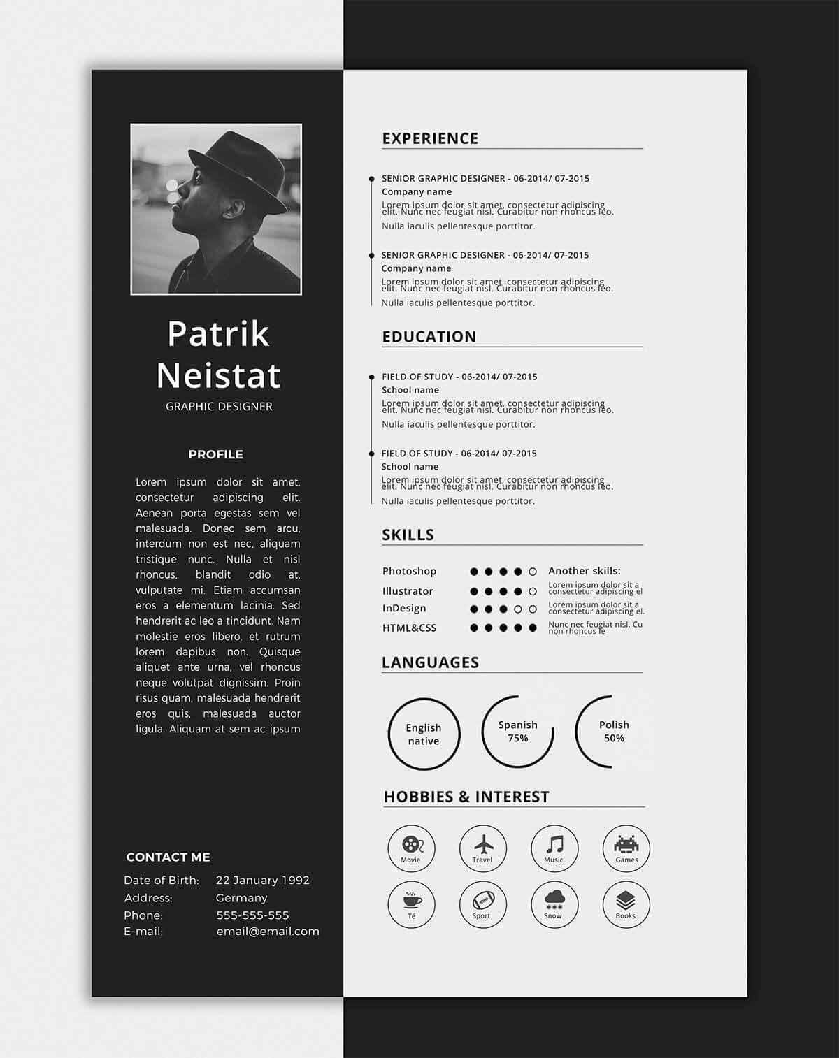 Free One Page Resume Template In Black And White