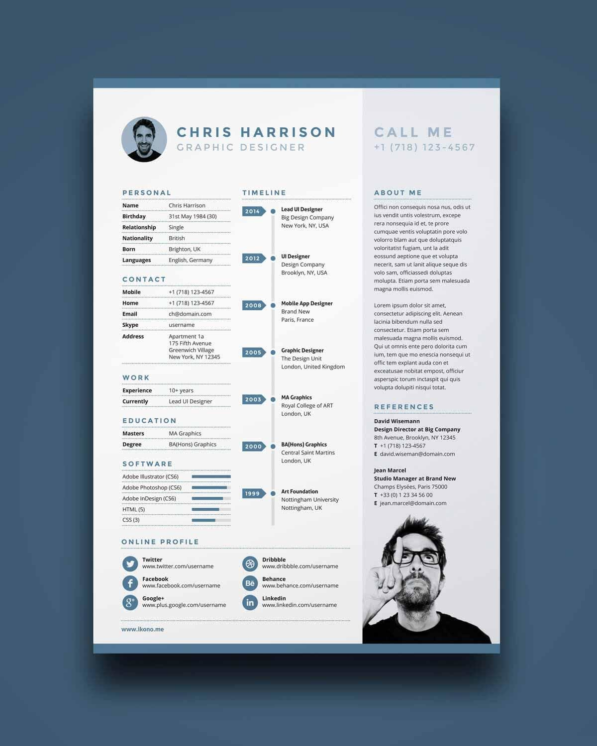 Example Of One Page Resume In Blue