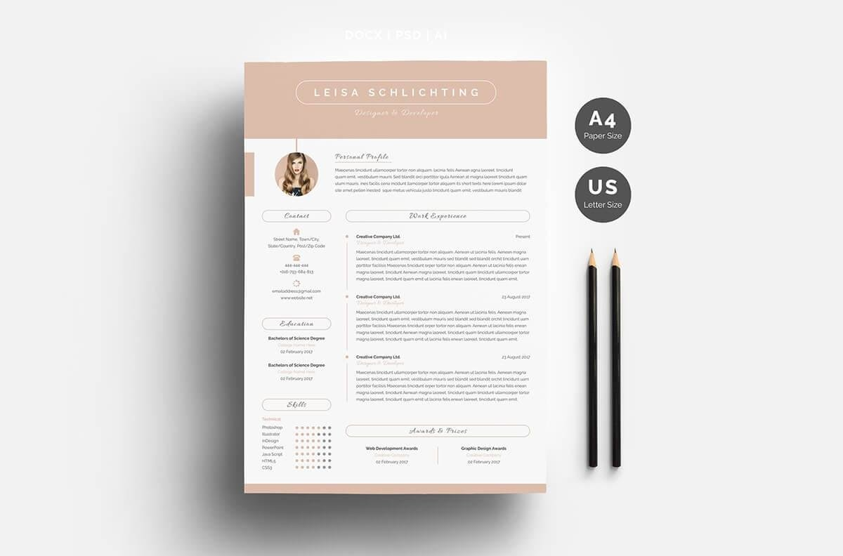 sample one page resume with pink header