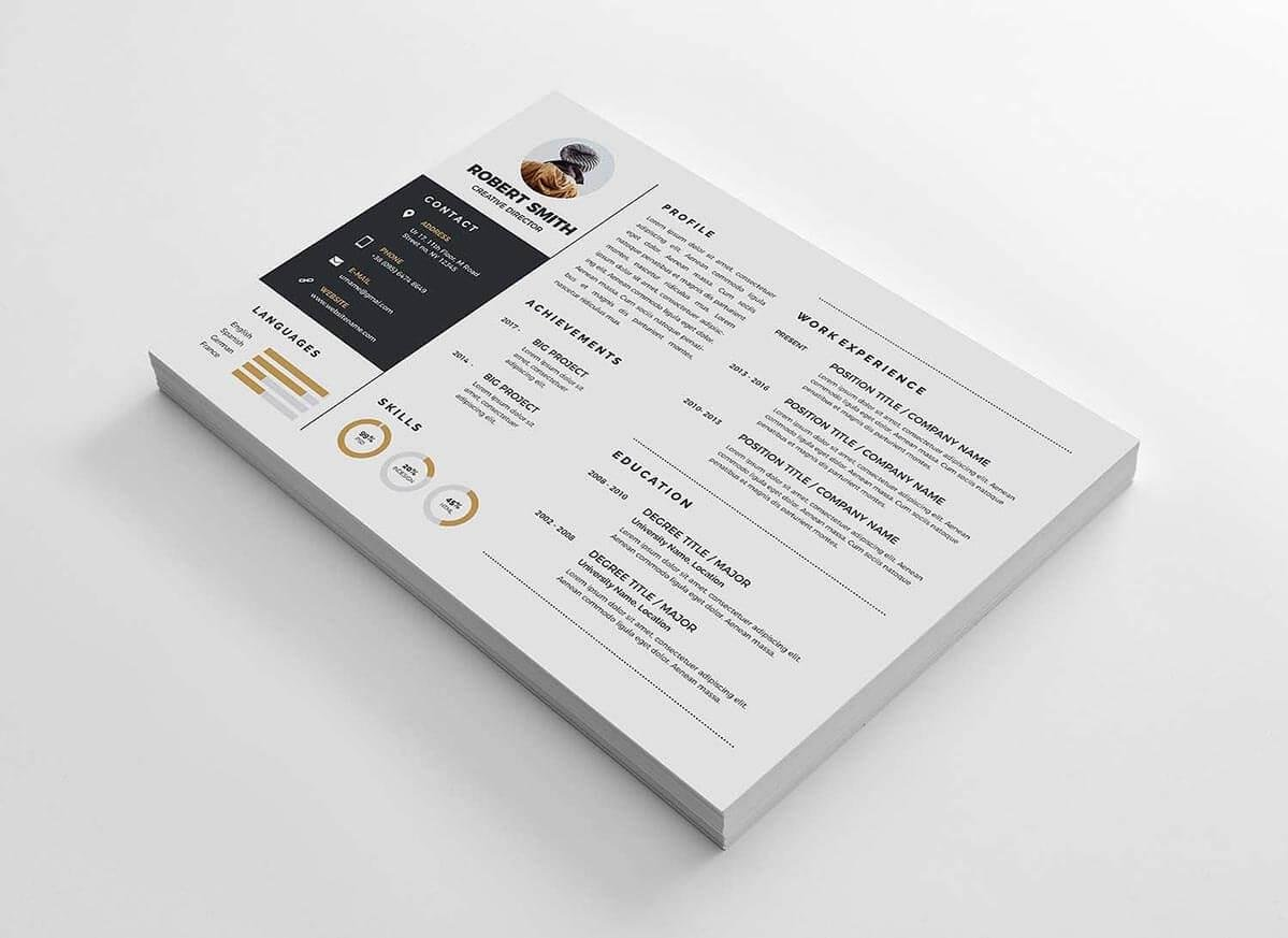 Horizontal One Page Resume Example