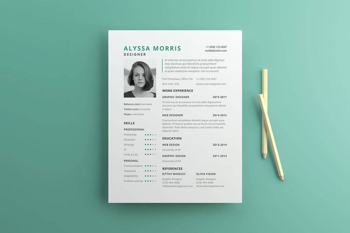 simple one page resume template in us letter size