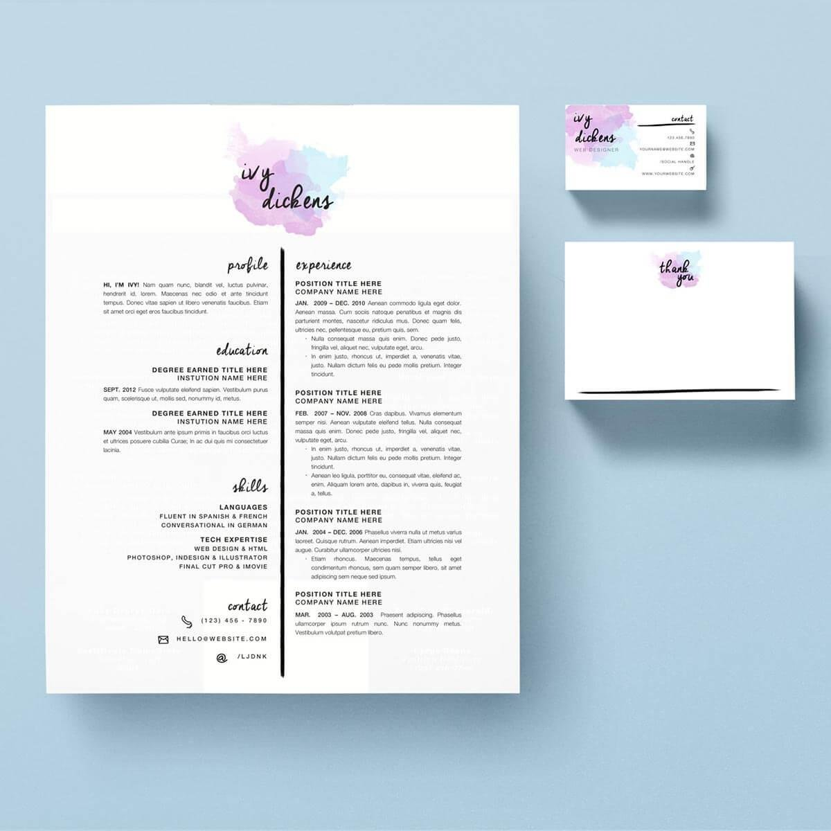 Best One Page Resume Template With Colorful Touch. U201c