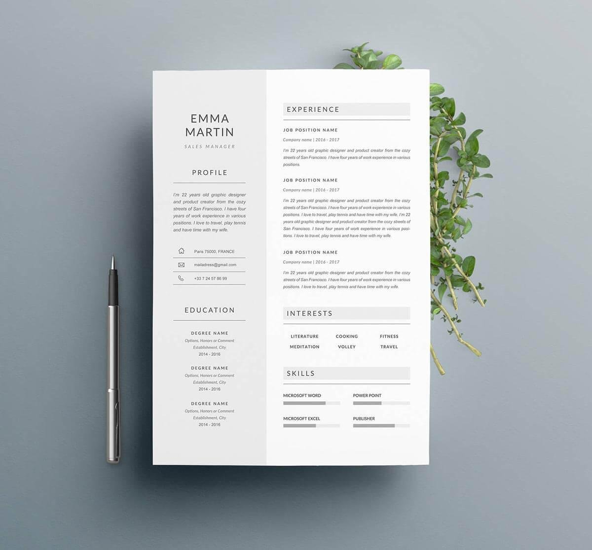 one page professional resume with sidebar