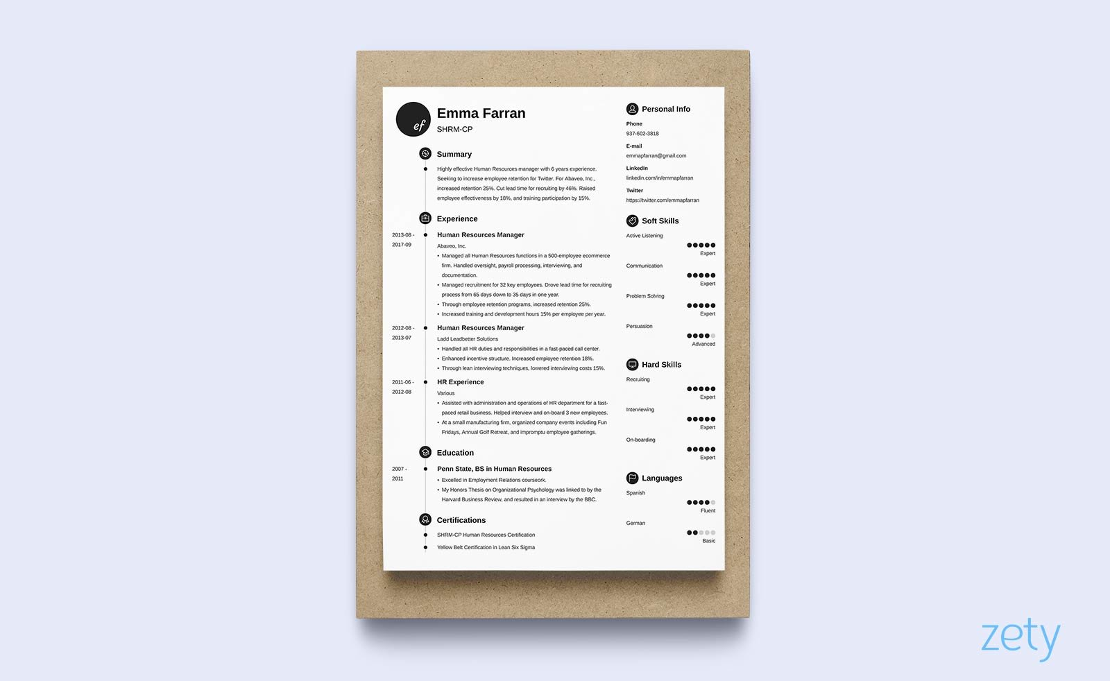 One Page Resume Template With Round Elements