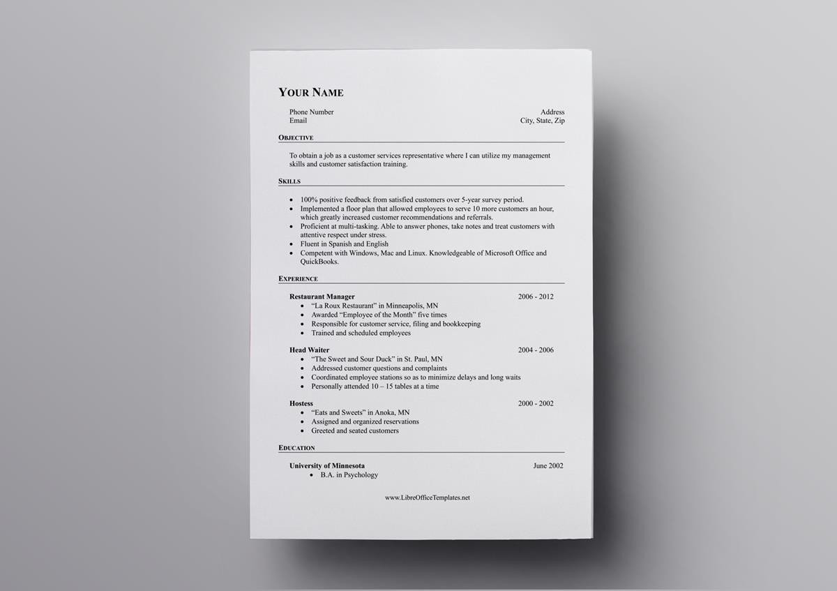 This LibreOffice Resume Template Puts A Spotlight On Skills As Such Its Perfect The Basis For Combination Or Functional Format