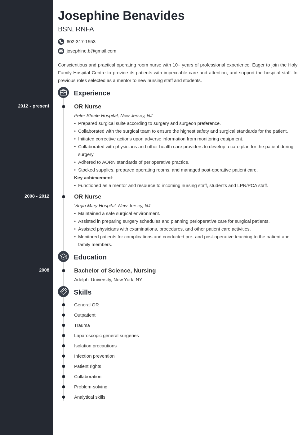 operating room nurse resume example template concept