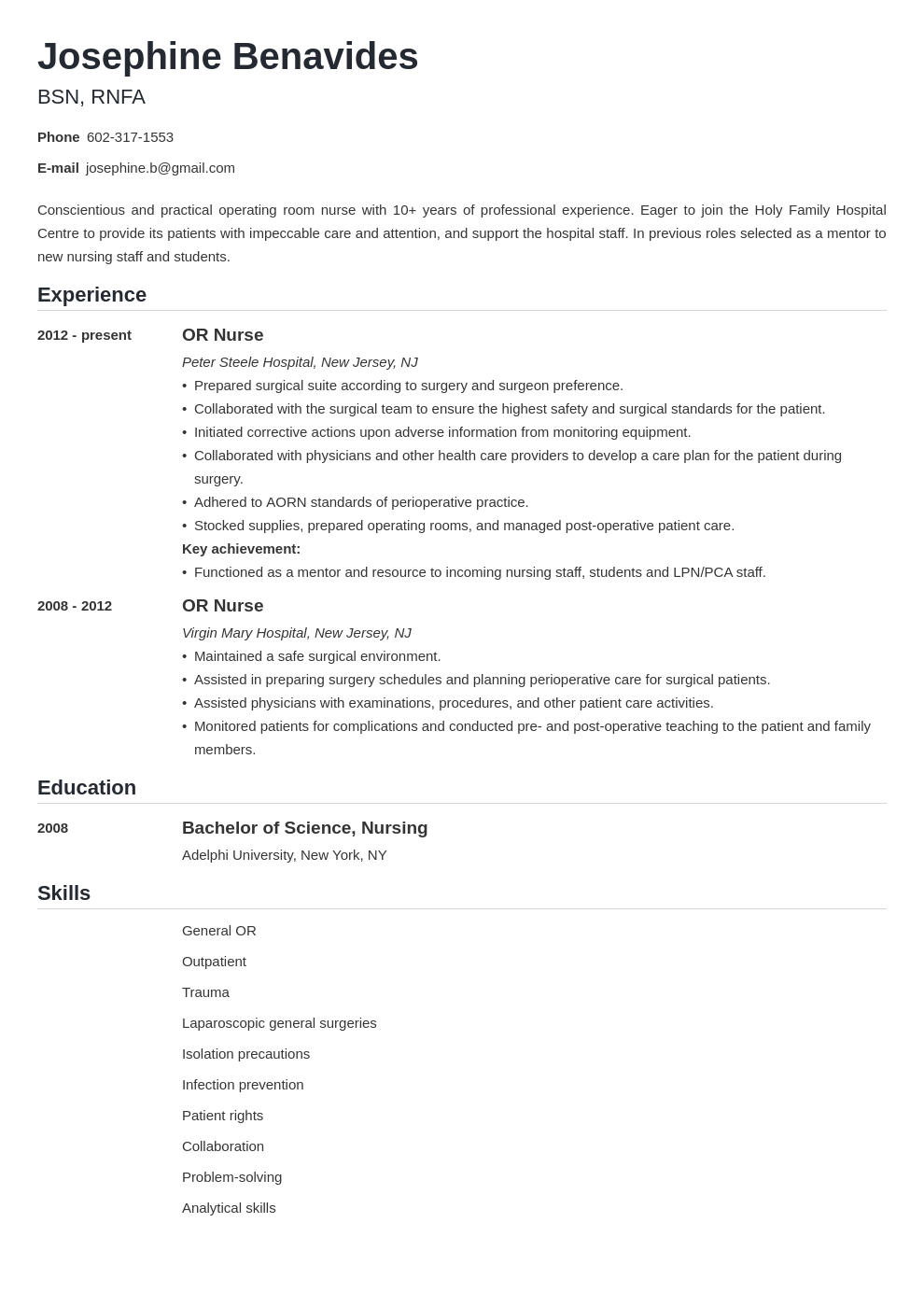 Operating Room Or Nurse Resume Sample Guide