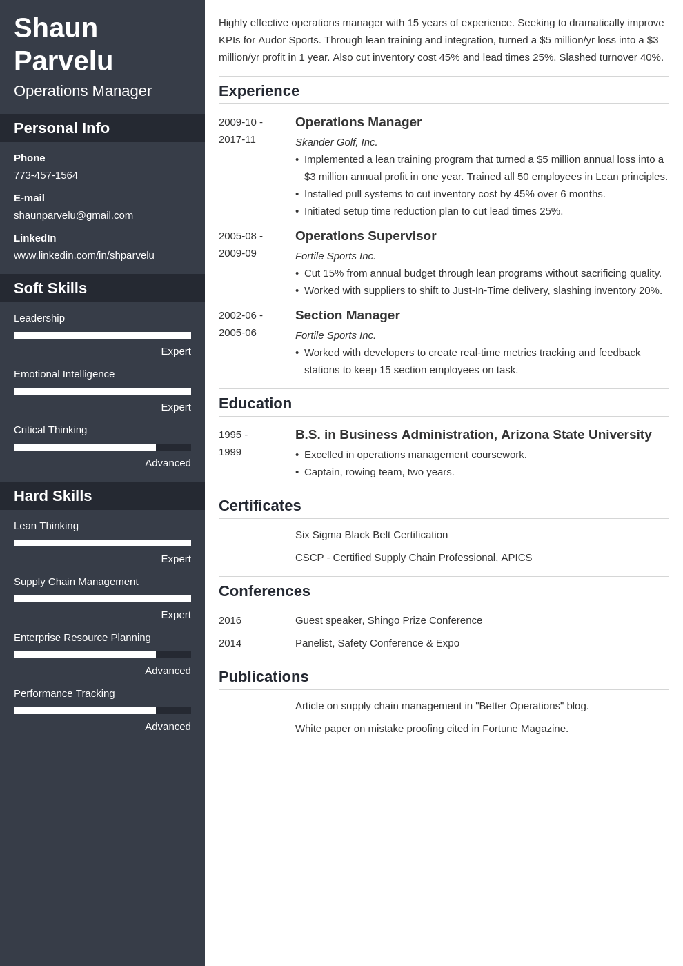 operations manager resume example template cascade