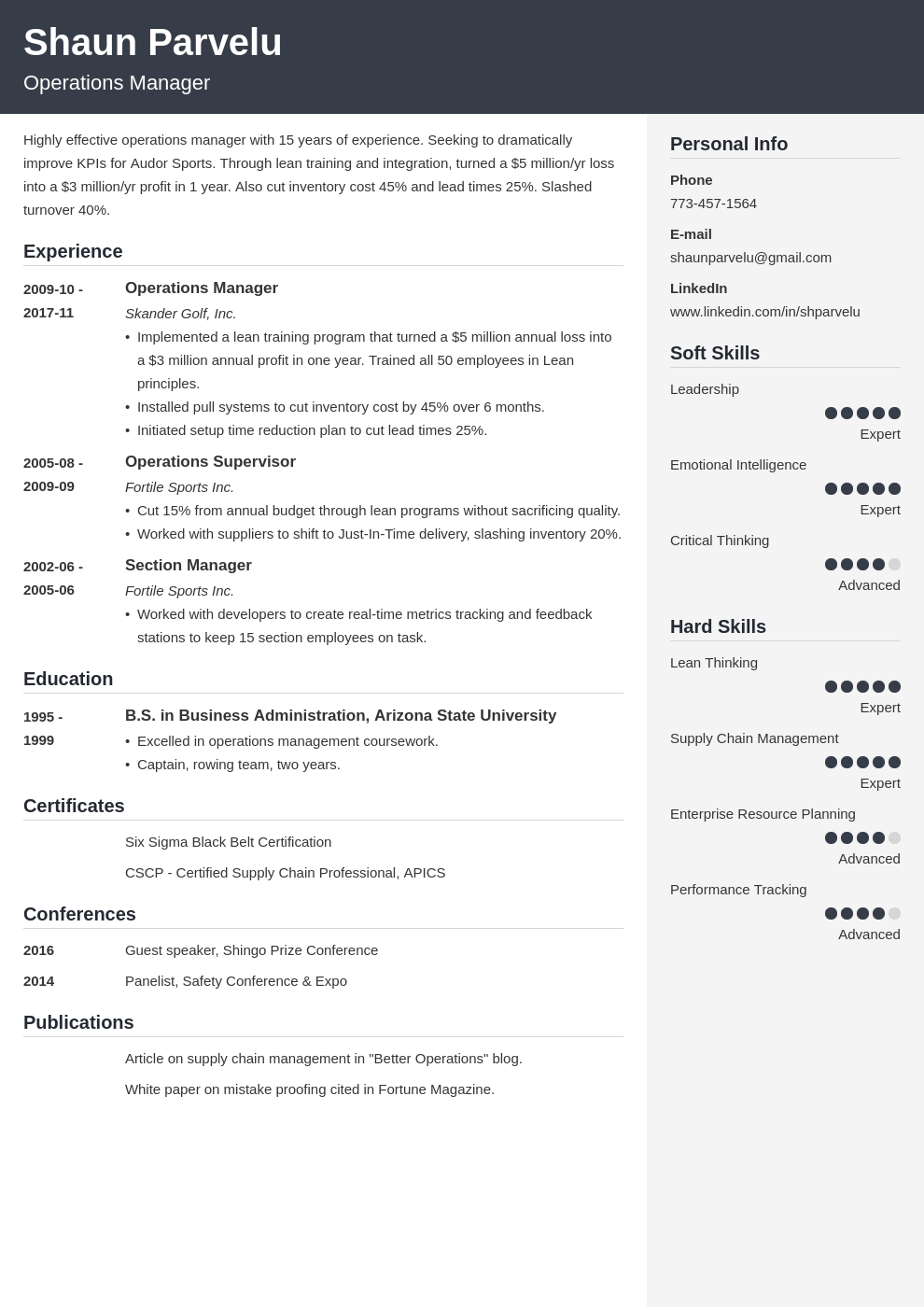 operations manager resume example template cubic