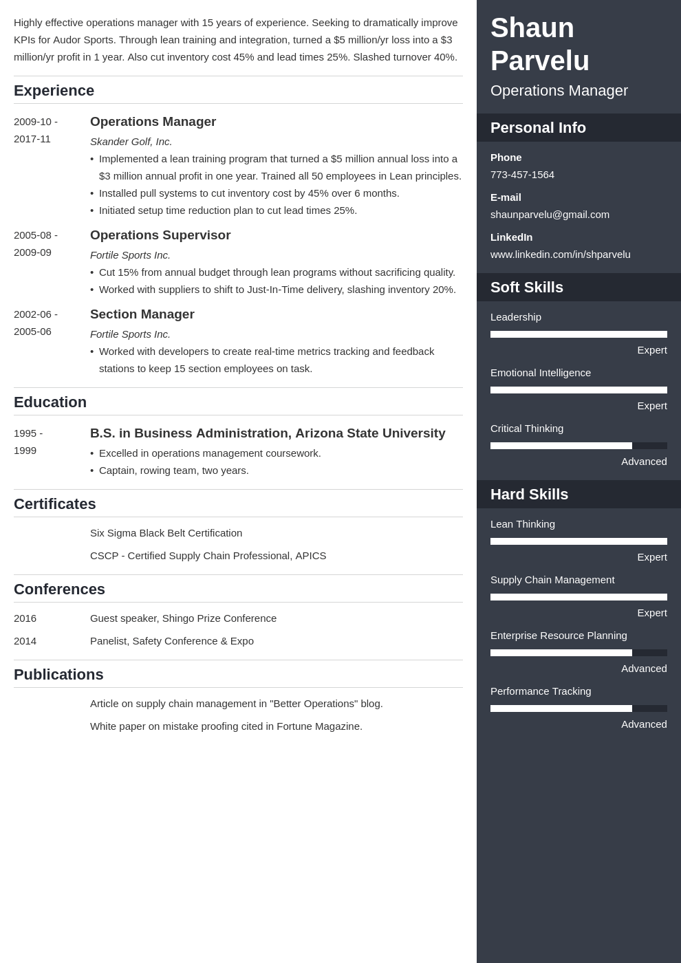 operations manager resume example template enfold