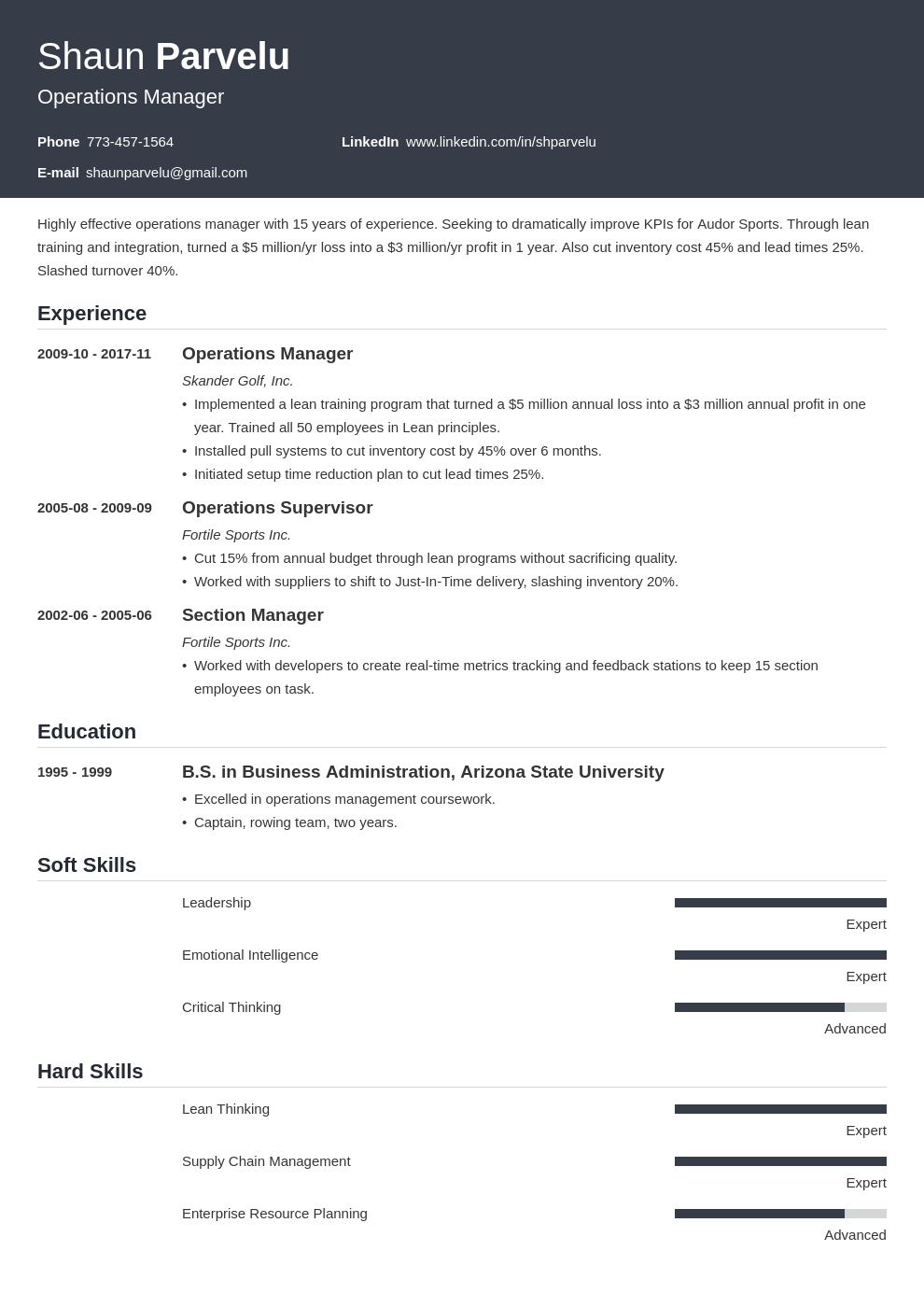 operations manager resume example template influx