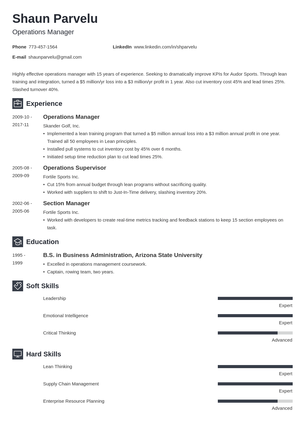 operations manager resume example template newcast
