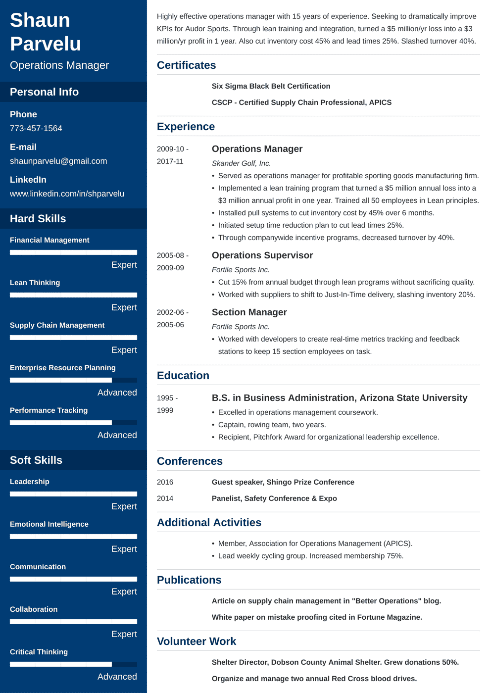 Operations Manager Resume: Sample & Writing Guide [+20 Examples]