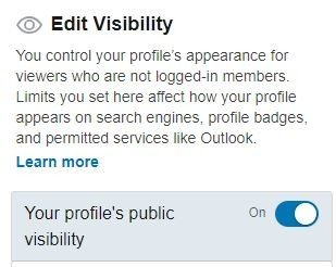 editing visibility on linkedin