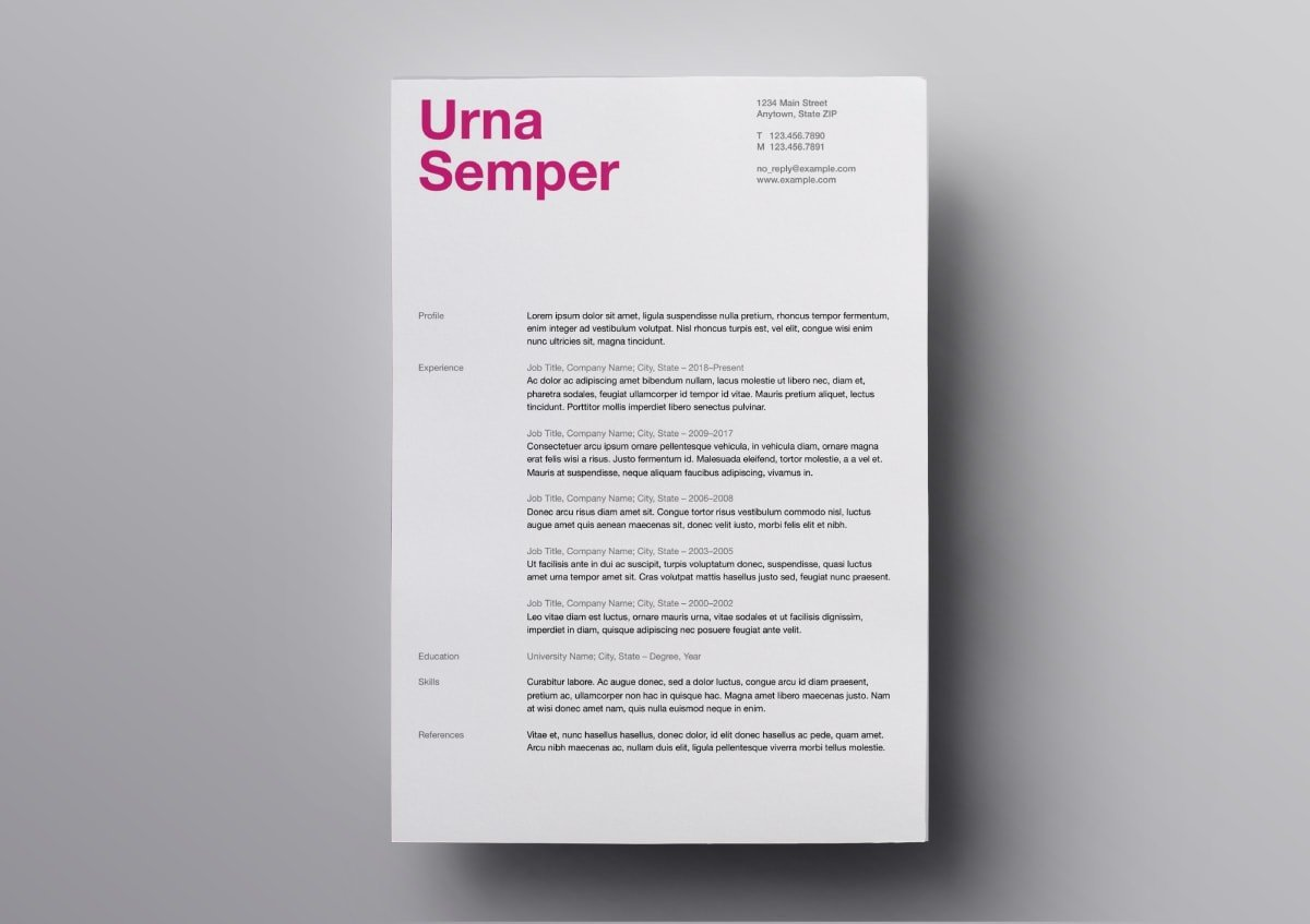 Bold Type Resume Pages Template