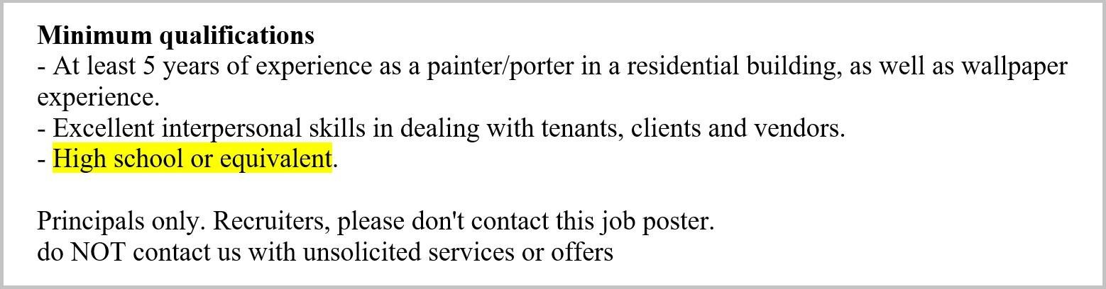 minimum qualifications education requirement for painter resume