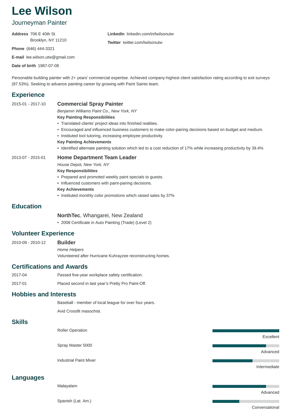 Painter Resume Sample Complete Guide 20 Examples