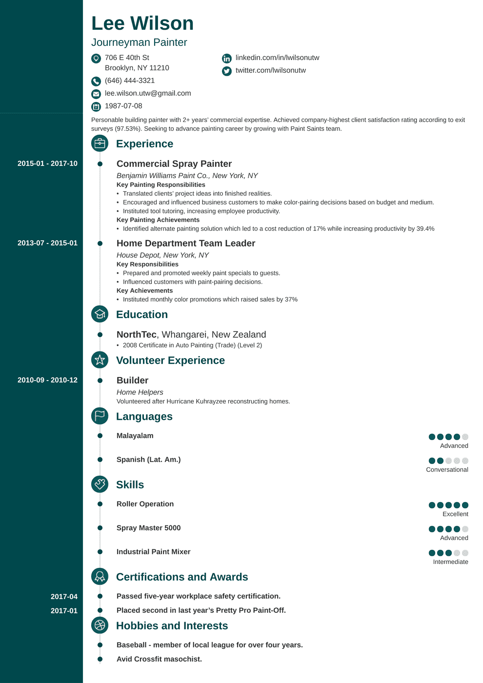 painter resume sample with objective and job description