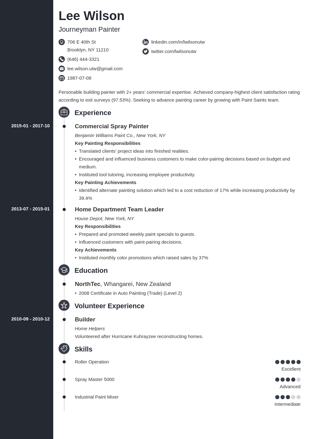 painter resume example template concept