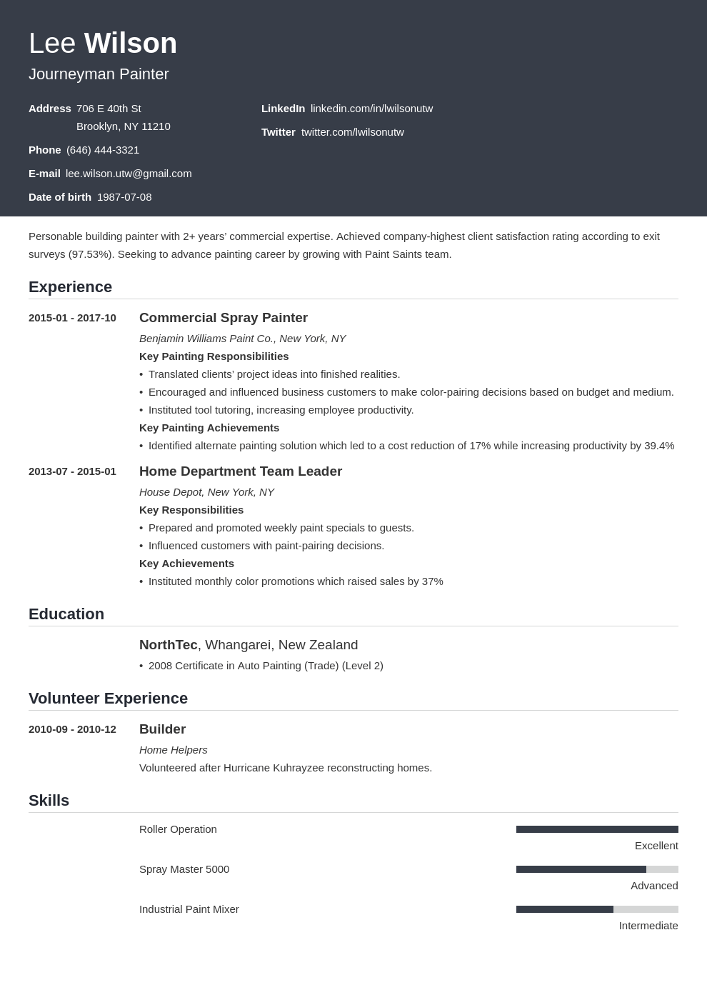painter resume example template influx