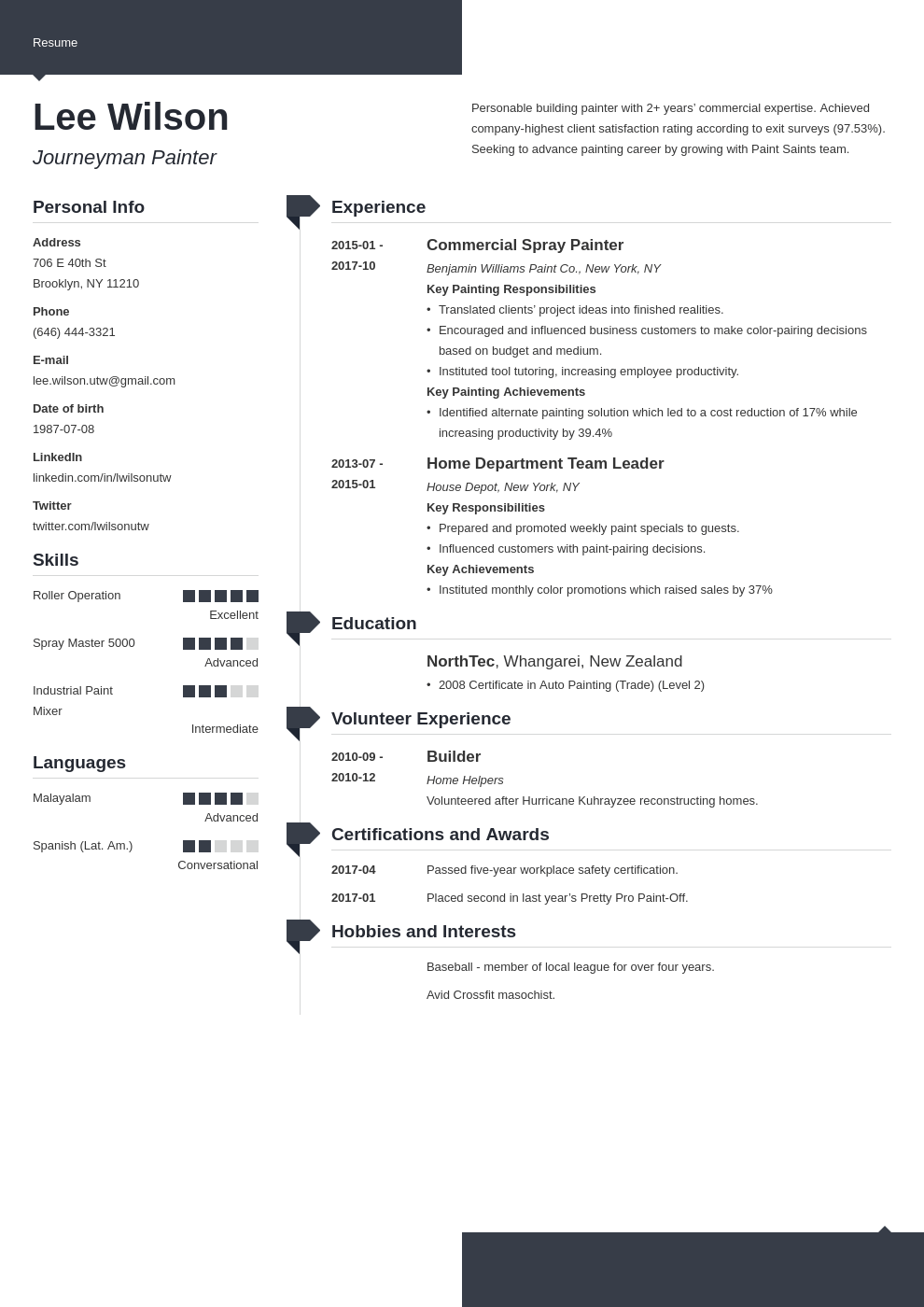 painter resume example template modern