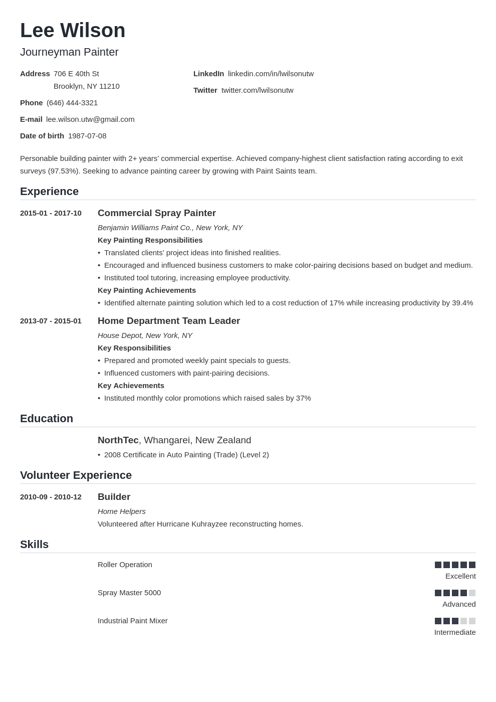 painter resume example template nanica