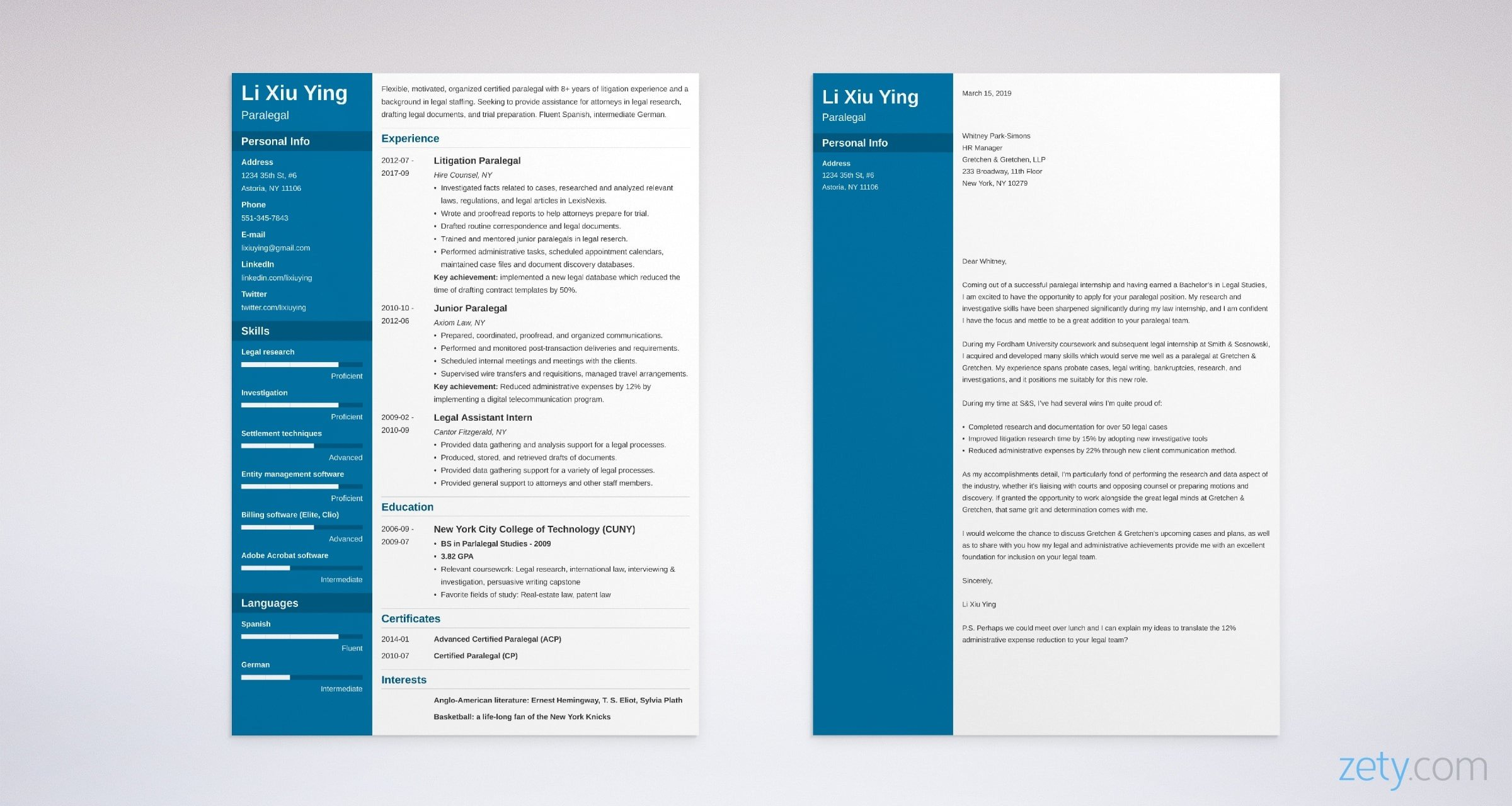 paralegal resume and cover letter set