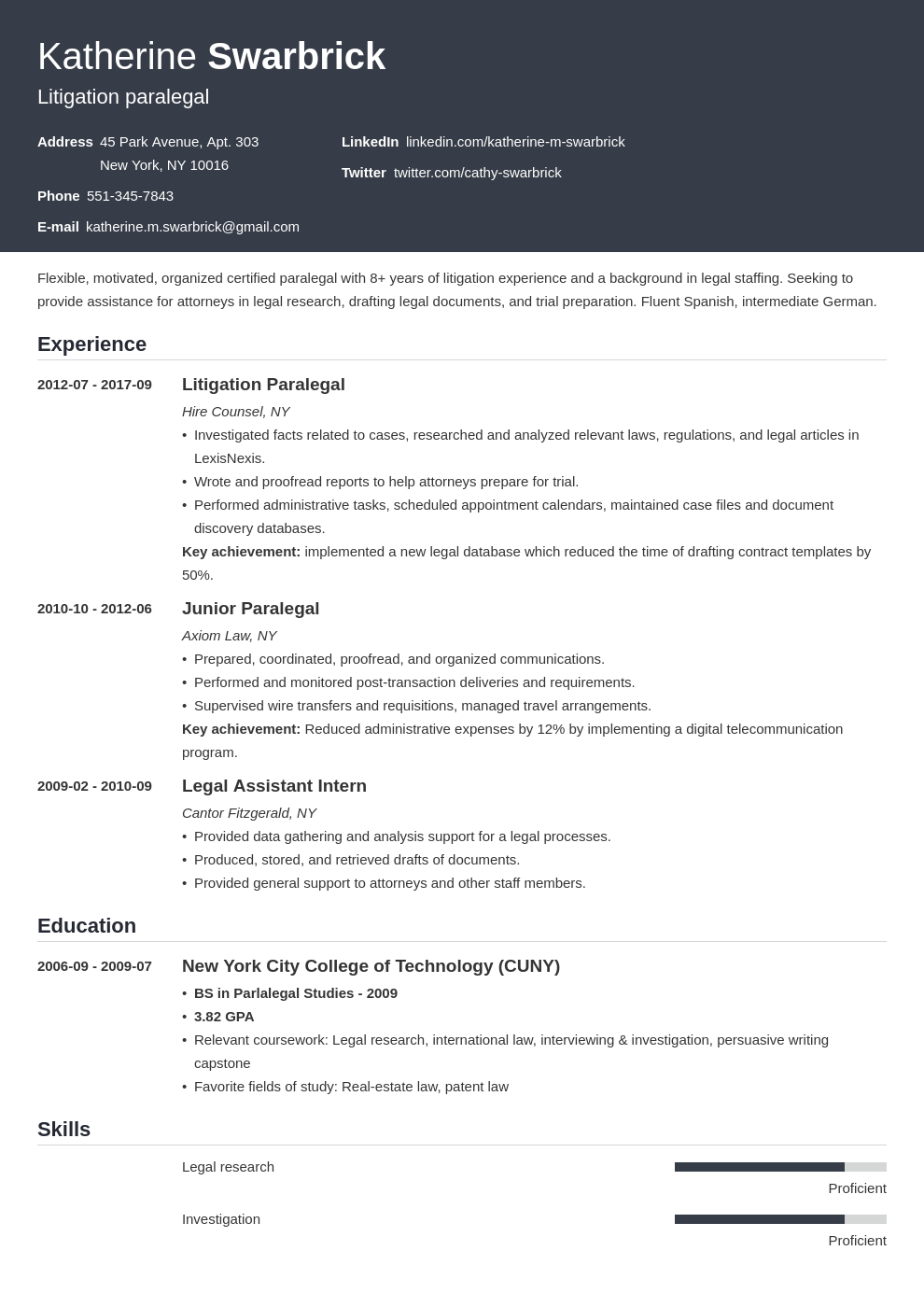 paralegal resume example template influx
