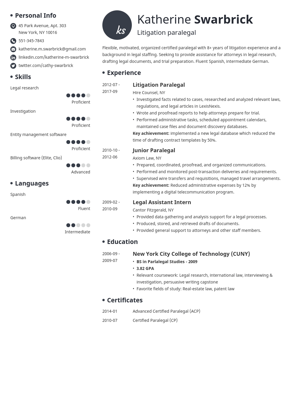 paralegal resume example template initials