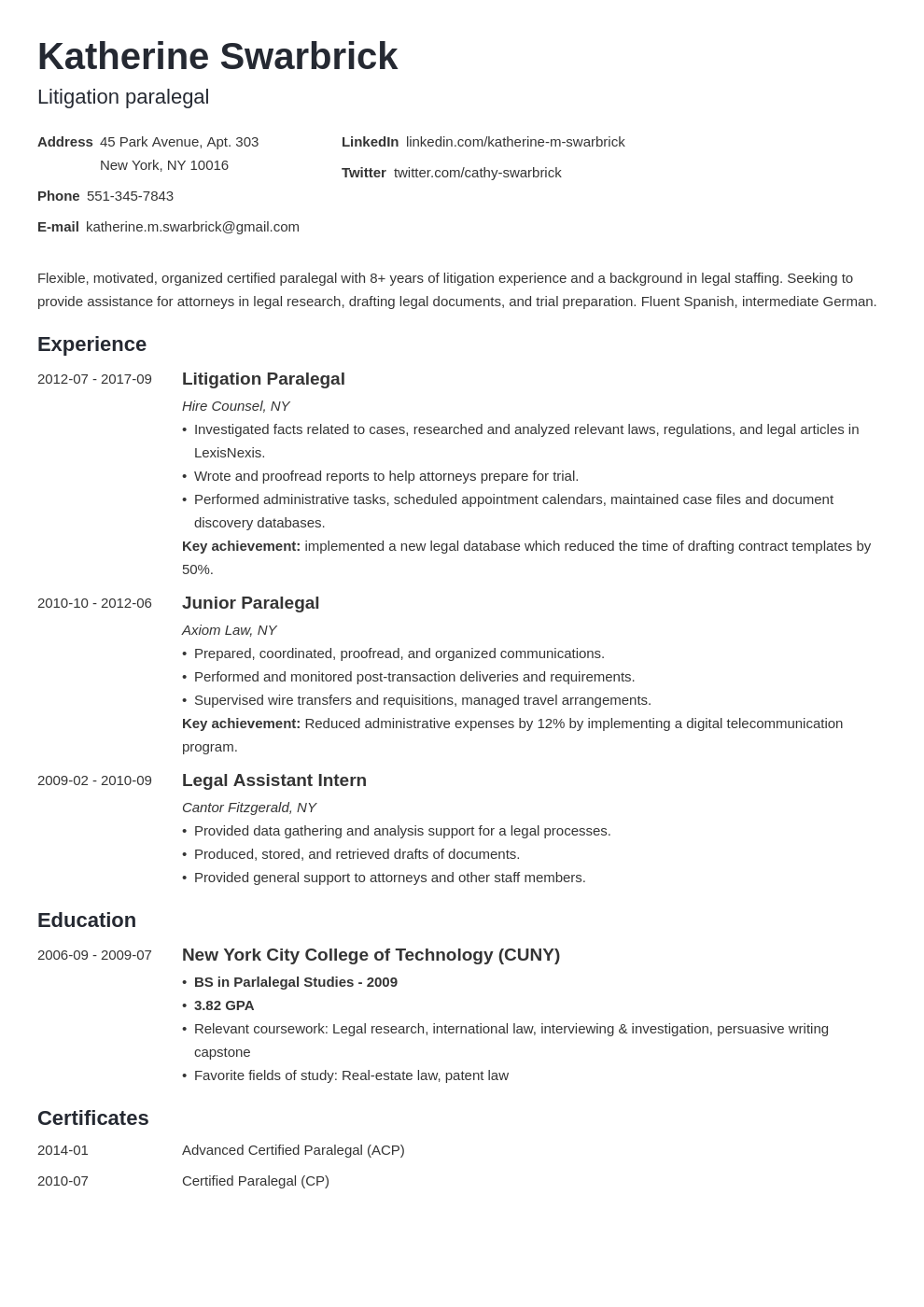 paralegal resume example template minimo