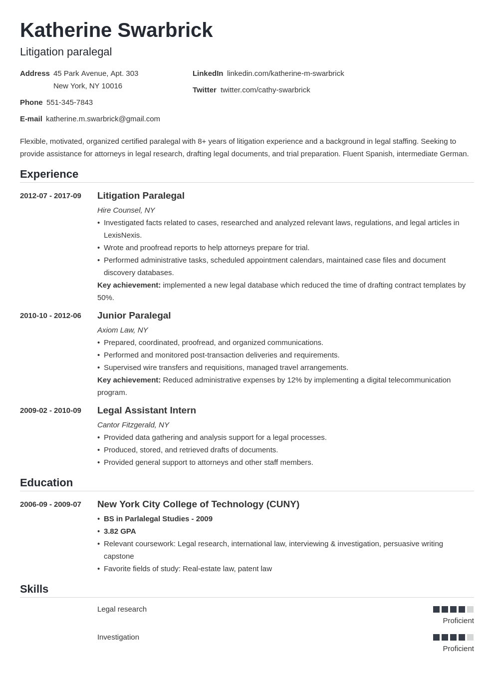 paralegal resume example template nanica
