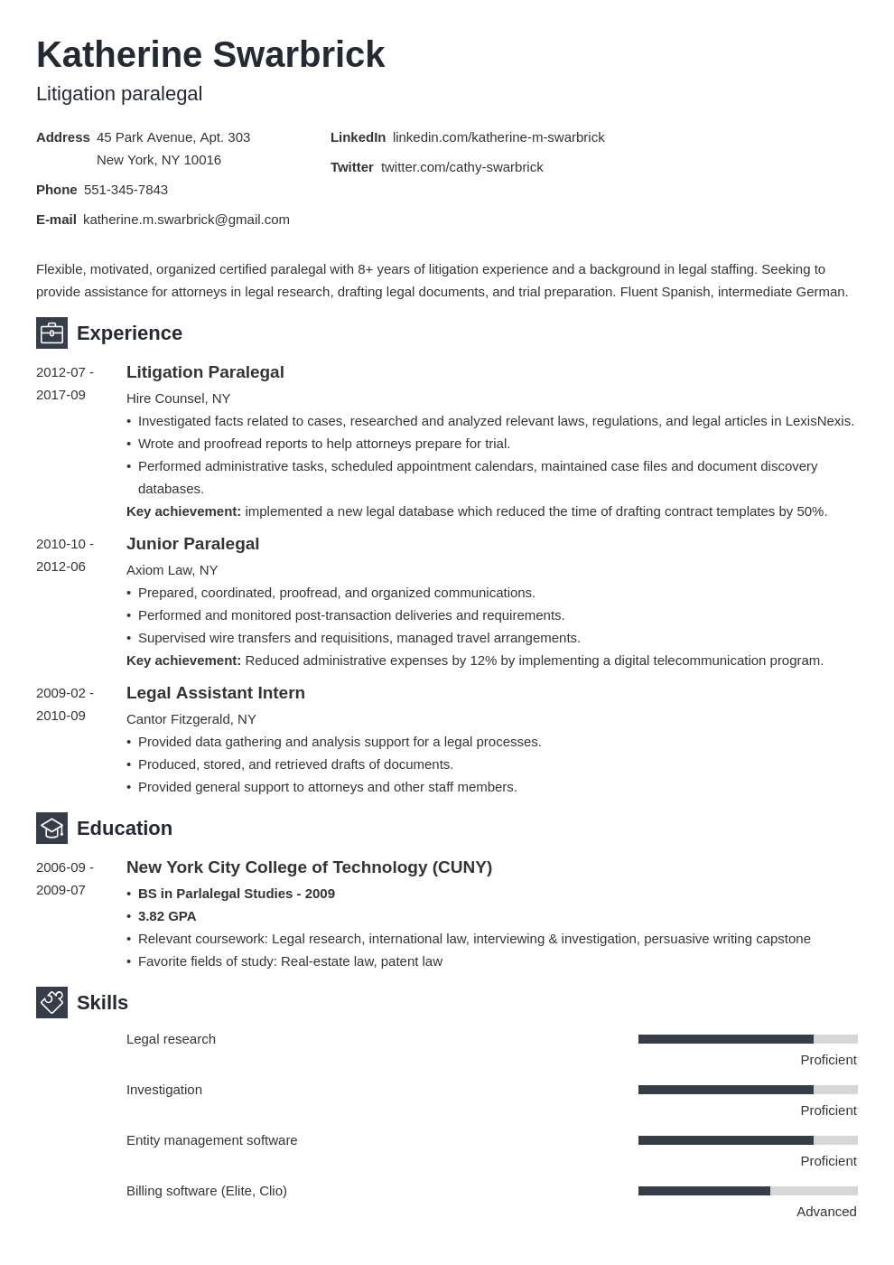 paralegal resume example template newcast