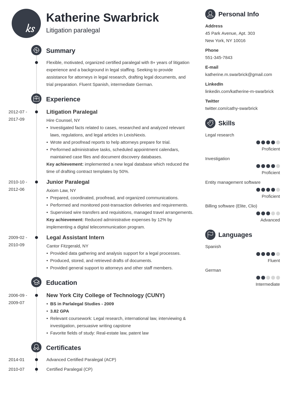 paralegal resume example template primo