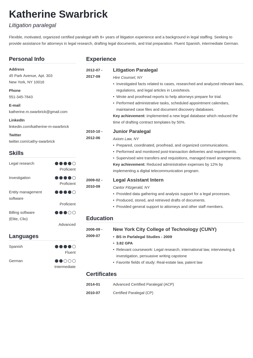 paralegal resume example template simple