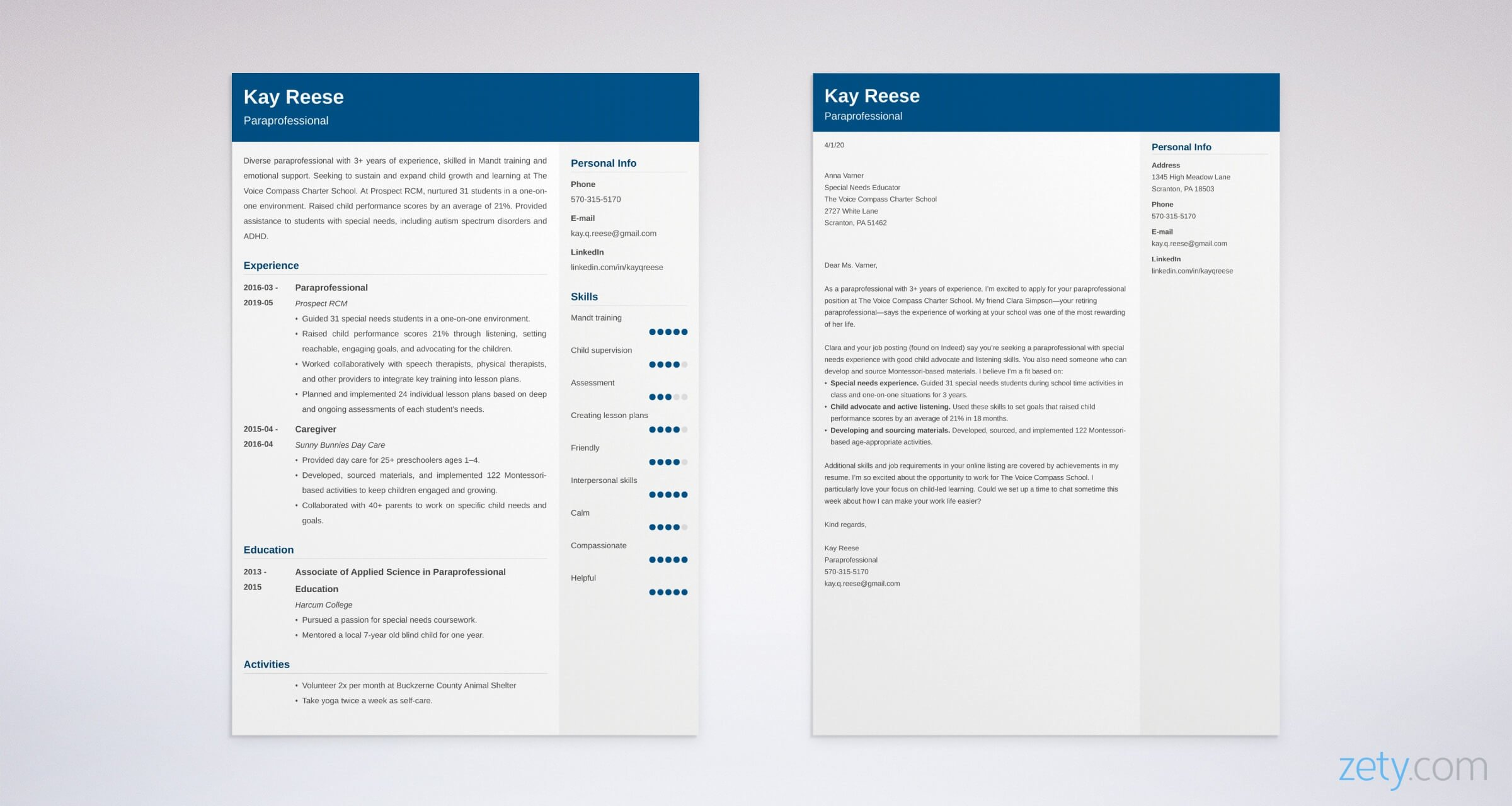 paraprofessional resume and cover letter set