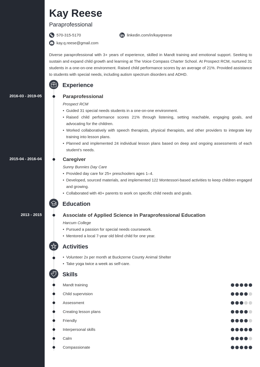 paraprofessional resume example template concept