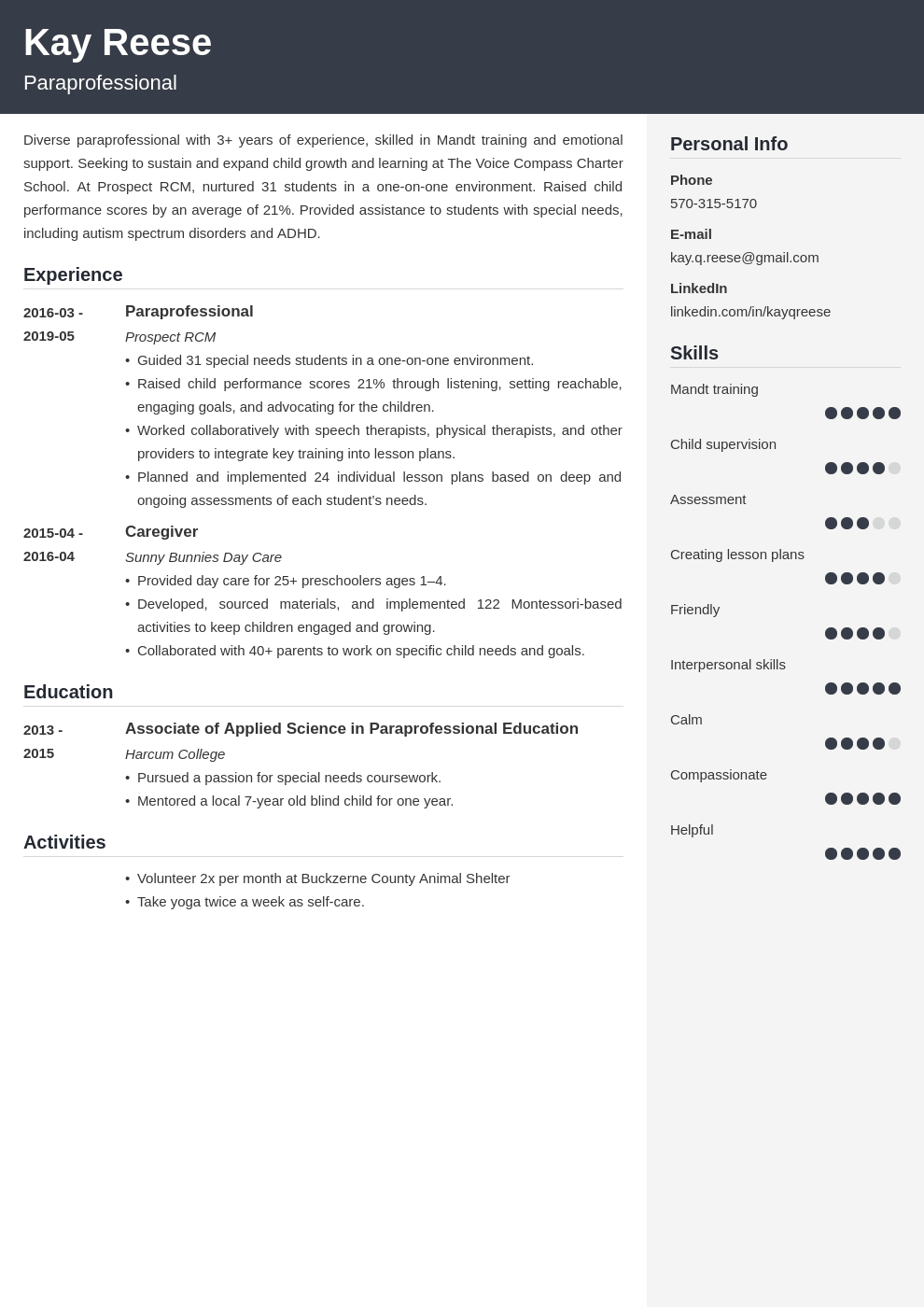 paraprofessional resume example template cubic