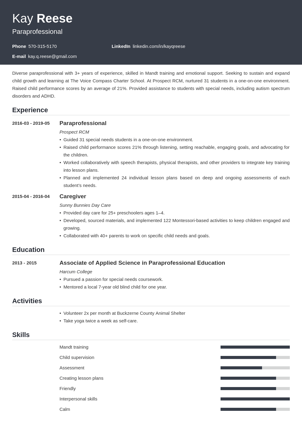 paraprofessional resume example template influx