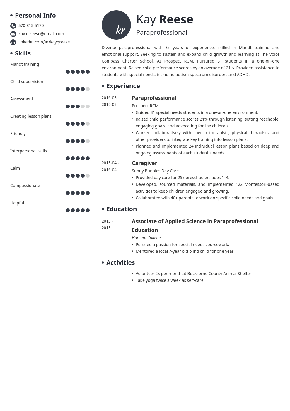 paraprofessional resume example template initials