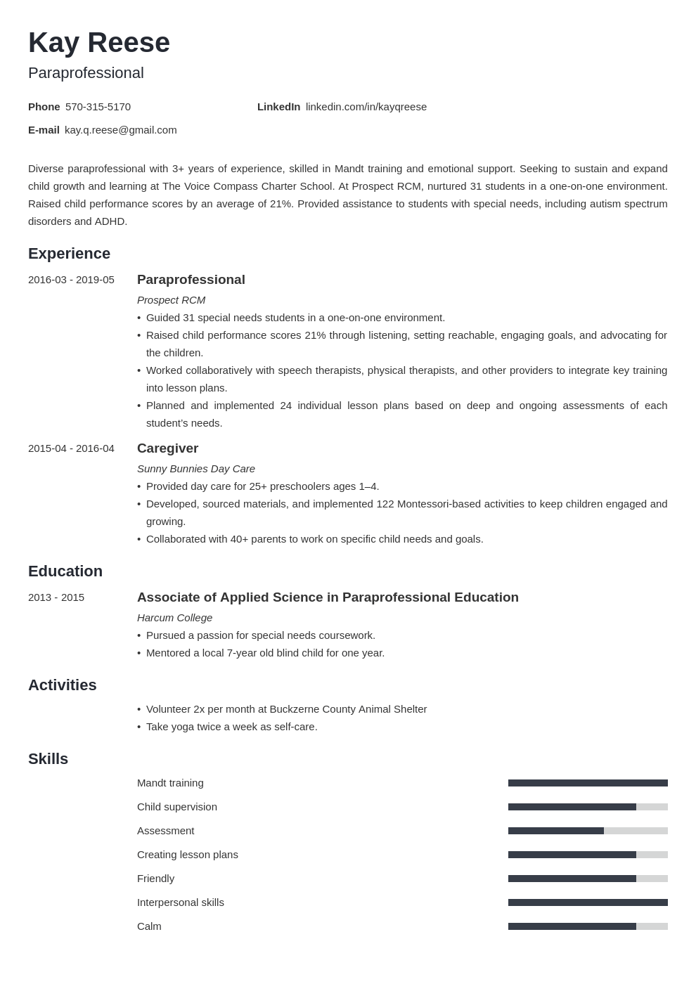 paraprofessional resume example template minimo