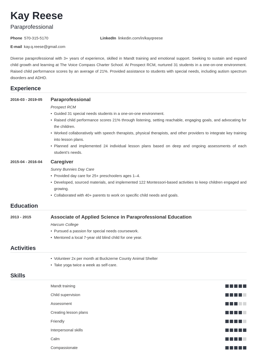 paraprofessional resume example template nanica