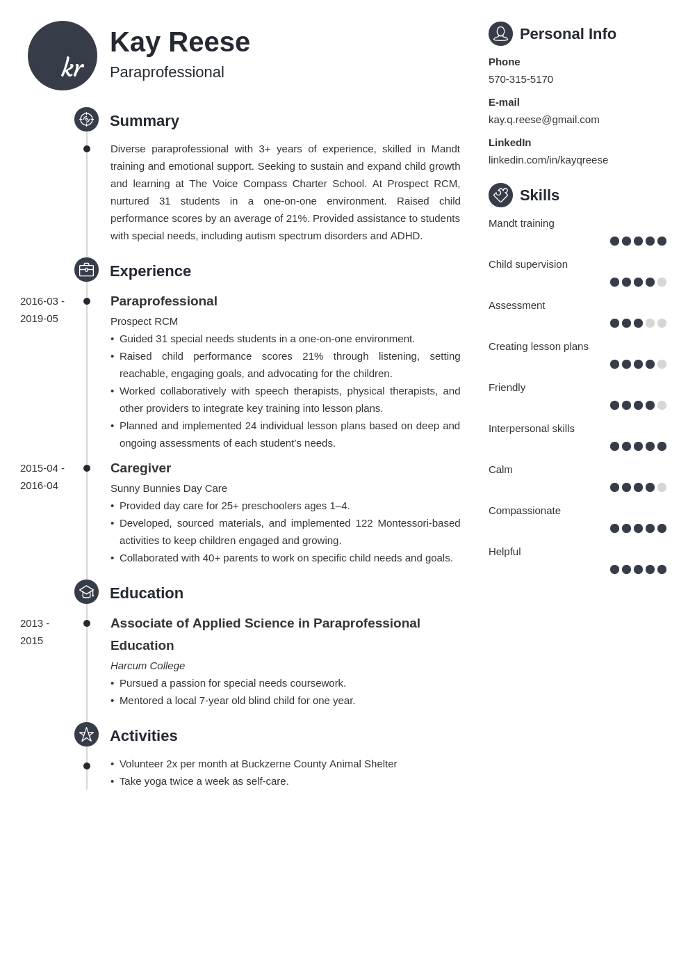 paraprofessional resume example template primo