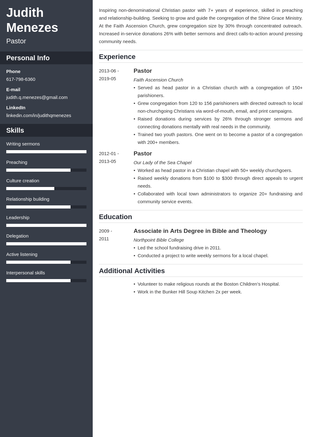 pastor resume example template cascade