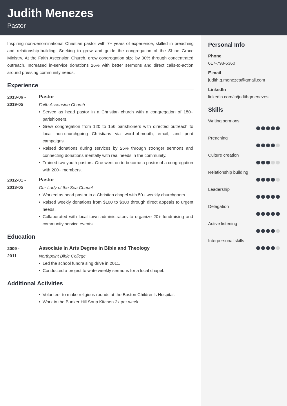 pastor resume example template cubic