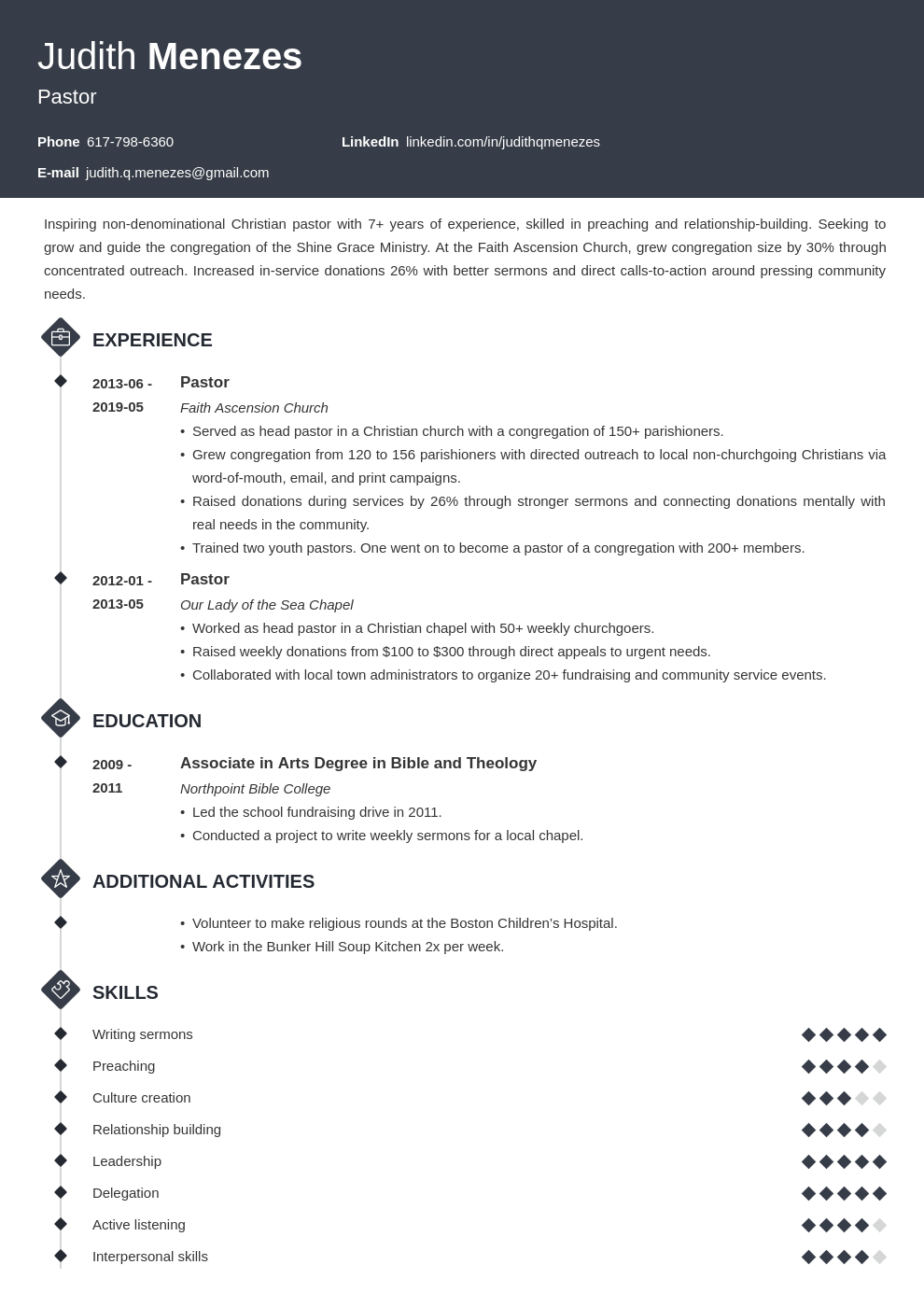 pastor resume example template diamond