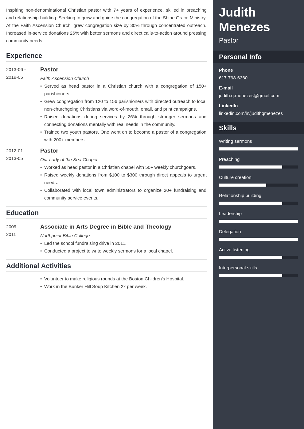 pastor resume example template enfold