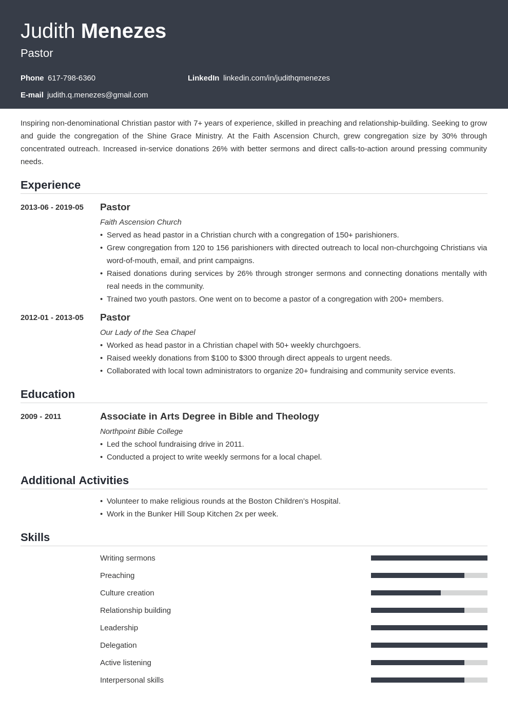 pastor resume example template influx